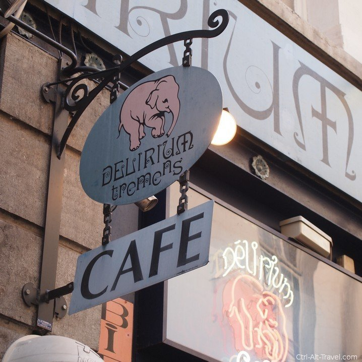 Sign of Brussels well known Delirium Cafe