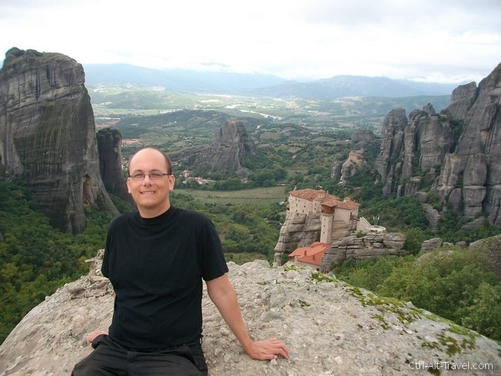 Me posing above a monastery at Meteora
