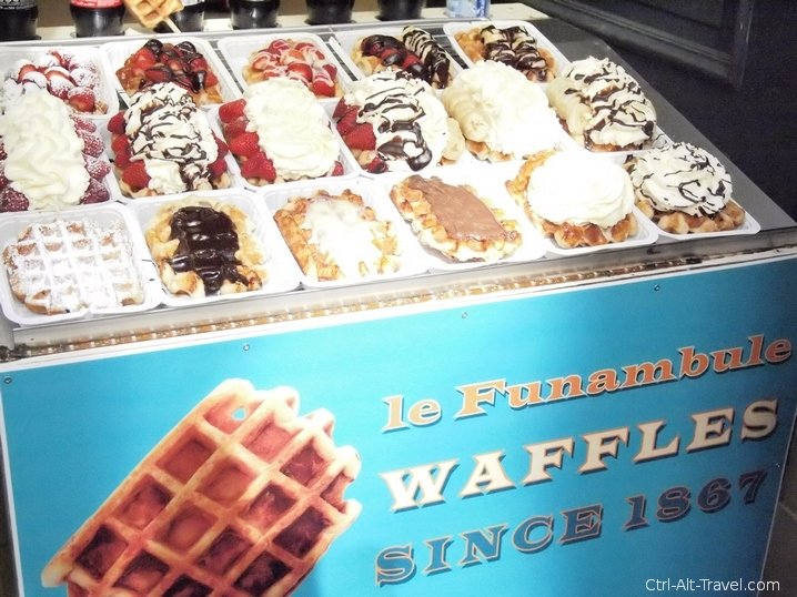 All of the toppings of a Belgian Waffle