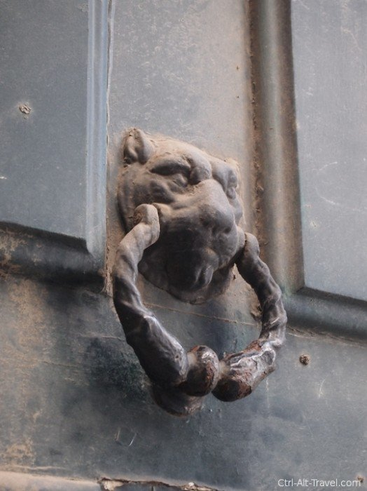 Door knocker of a lion in Porto, Portugal