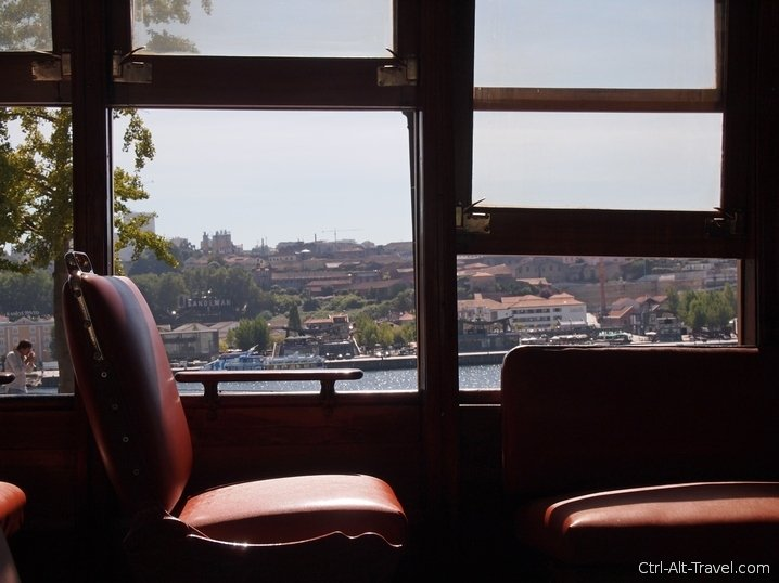 Old time tram window and view through it