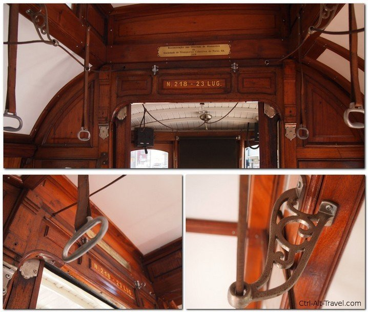 Details of the interior of Tram in Porto
