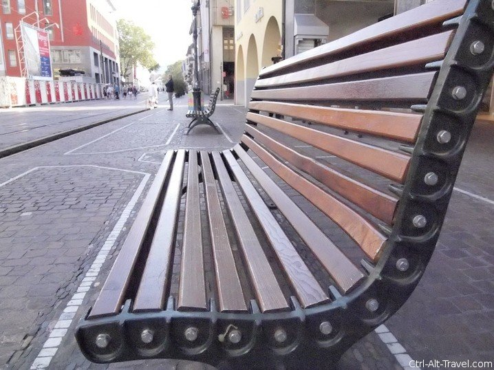 Bench from a low perspective