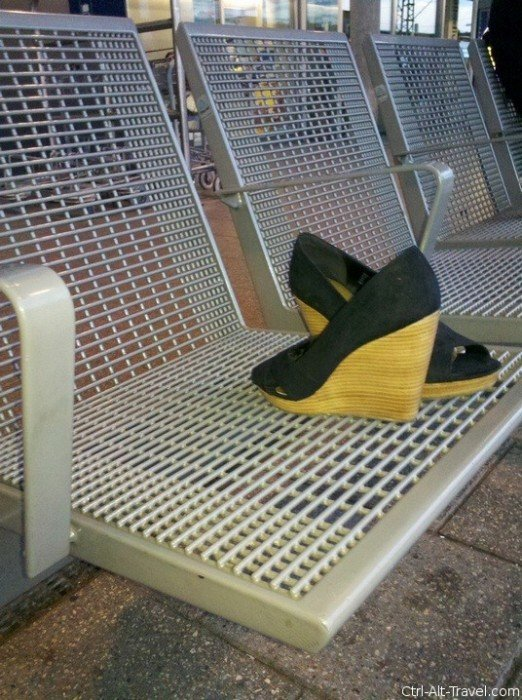 Shoes left on a bench