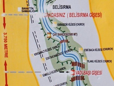 Map of the stretch of the Ihlara Valley which we walked
